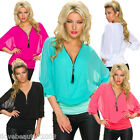 New Womens Oversized 3/4 Sleeve T-Shirts V neck Casual Loose Chiffon Tops Blouse