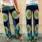 Dark Blue Summer Women's Floral Pants Casual Comfy Stripe Lady Palazzo Trousers