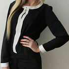 Women Ladies Crew Neck Chiffon Long Sleeve Loose Casual T Shirt Tops Blouse HF
