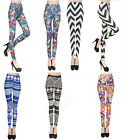 Women Print Leggings Stretchy Casual Skinny Legging Slim Pencil Pants Trousers
