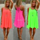 2017 Lady Summer Casual Sleeveless Evening Party Beach Dress Short Mini Dress SH