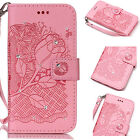 Diamond Crystal Pink Hand Strap Flip Magnet Cover PU Leather Case For CelePhones