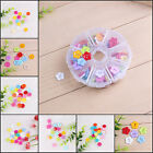 100Pcs 12-15mm DIY Resin Buttons Random Mix Sewing Scrapbooking + Round Case