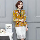 Spring Flare Sleeve Chiffon Blouse Women Top Elegant Stand Floral Shirts Camisas