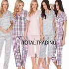 LADIES SUMMER PYJAMAS  100% PURE COTTON SHORT SLEEVE CROP AND LONG LEG