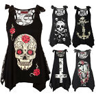 Fashion Women's Summer Skull Print Loose Lace Patchwork Sleeveless Tops Shirt