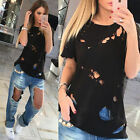 Women Ladies Casual Hole Loose Short Sleeve Blouse Shirt Tops Summer T-shirt New