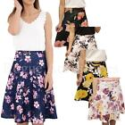 Skater Floral Print Stretch Waist Flippy Flared Skirt Plus Size  Womens