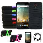Phone Case For ZTE Prestige 2 4g LTE Heavy Duty Cover Stand USB Charger Film