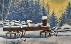 """16"""" ORIGINAL SNOWSCAPE THEME WATERCOLOR PAINTING: CARDINAL ON WINTER RANCH"""