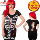 RKN38 Banned Skeleton Corset Top Black Gothic Halloween Punk Rock Emo Skull Goth