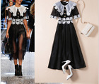 Occident runway fashion trendy organza spell water soluble lace dress SMLXLXXL