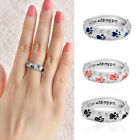 """Dog Cat Paw Print Ring """"When i am with my pet"""" Rhinestone Plated Diamond Ring"""
