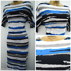NEW PLANET SHIFT DRESS BLACK BLUE WHITE GREY STRIPED CASUAL SIZE 14 16