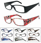 1 or 3 Pair(s) Rectangular Clear Lens Reader Reading Glasses Spring Hinges