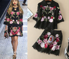 2017 Occident runway autumn Modern Vintage embroidery coat+short skirt lace suit