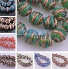 5pcs 14mm Round Striped Lampwork Glass Charms Loose Spacer Beads Findings