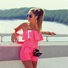 Women Holiday Mini Playsuit Beach Drawstring Short Off Shoulder Romper Ruffle