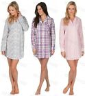 Ladies 100% Cotton Button Front Nightshirt Dress Nightie Adults Womens Sleepwear