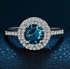 18k White Gold Filled Blue Topaz Birth Stone Wedding Ring Fashion Ring R122