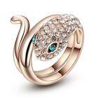 18k Gold Plated Made With Swarovski Crystal Spectacle Snake Fashion Ring R124