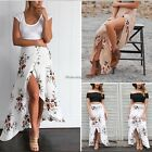Boho Gypsy Women Floral Long Maxi Skirt Casual Summer Split Beach Wrap Sun Dress