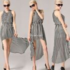 Women's Sleeveless Striped Chiffon Tunic Long Cocktail Summer Dresses Maxi Dress