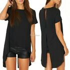 New Women Short Sleeve Asymmetric Sexy Backless T-Shirt Tops Blouse SH01