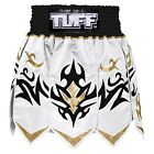 Tuff Muay Thai Boxing Gladiator Shorts Kick Boxing White Gold Free Shipping