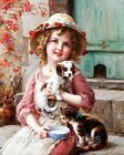 Emile Vernon Girl Pets Quilt Block Multi Sizes FrEE ShiPPinG WoRld WiDE (E23
