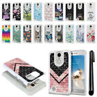 For LG Aristo MS210 LV3/ M150 Fortune Anti Shock Bling HYBRID Case Cover + Pen