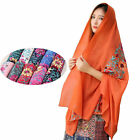 Women Large Embroidery Cotton Floral Scarf Pashmina Muslim Hajib Scarves Turban