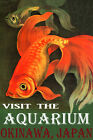 VISIT THE AQUARIUM IN OKINAWA JAPAN GOLDFISH FISH TRAVEL VINTAGE POSTER REPRO