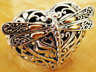 Bali Unique Carving Dragonfly Love Sterling Silver 925 Ring M503 18K Gold Wings