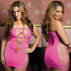 Plus Size Lingerie One Size Queen Black or Pink Mini Tube Dress Chemise STM9511X