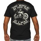 Mens Skeleton Biker Motorcycle T-Shirt - You Would Be Loud If I was Riding You image