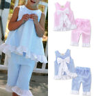 Cute 2PCS Kids Baby Girls Bow Vest Tops Shirt+Shorts Pants Clothes Outfit Casual