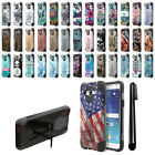 For Samsung Galaxy J7 J700 Hybrid Dual Layer Stand Protective Case Cover + Pen