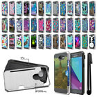 For Samsung Galaxy J3 Emerge J327 2nd Gen Card Brushed Hybrid Case Cover + Pen