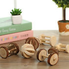 Natural Pine Dumbells Unicycle Bell Roller Chew Toy For Guinea Pig Rat Rabbit HF