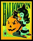 Halloween Witch by Andrea Young Pin Up Girl Pumpkins Black Cat Canvas Art Print