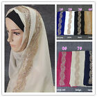 Glitter Flower Side Bandana Bubble Chiffon Scarf Muslim Hijab Scarf Head Wraps
