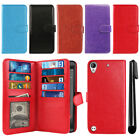For HTC Desire 530 630 Flip Card Holder Cash Slots Wallet Cover Case + Pen