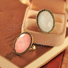 Retro Punk Carved Big Stone Exquisite Lady Evening Party Ring Adjustable OE