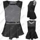 NEW WOMENS LADIES SLEEVELESS BLACK STRIPE BELT NECKLACE PEPLUM FRILL TOP BODYCON