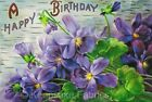 Birthday Purple Flowers Crazy Quilt Block Multi Szs FrEE ShiPPinG WoRld WiDE (V9