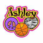 Customized Peace Love Basketball Vinyl Decal Any Text and Colors!