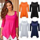 Fashion Women's Ladies Summer Party Solid Tops Dress Clothes Plus Size Blouse op