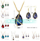 Women Jewelry Sets Necklace Earrings Crystal Rhinestones Charm Pendant Chain