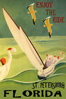 ST. PETERSBURG FLORIDA SAILING ENJOY THE RIDE SPORT SAIL VINTAGE POSTER REPRO